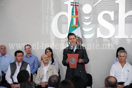 EL GOBIERNO DE LA REPÚBLICA SERÁ UN INVARIABLE ALIADO DE LOS MICHOACANOS PARA ACOMPAÑARLES EN SU PROGRESO: EPN
