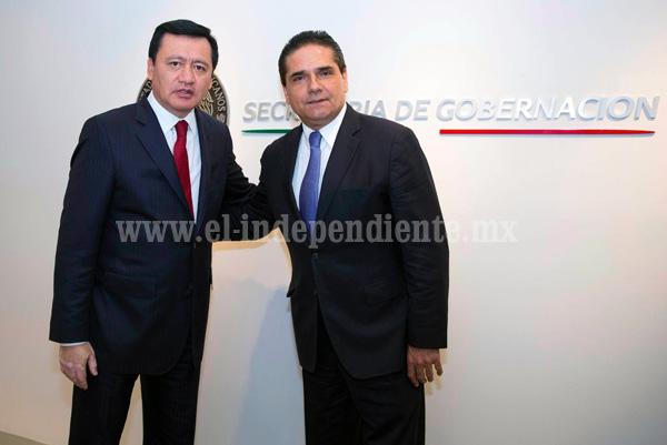 Recibe Miguel Ángel Osorio Chong al gobernador electo de Michoacán