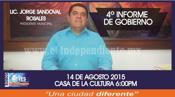 Hoy presenta Jorge Sandoval 4º Informe de Gobierno