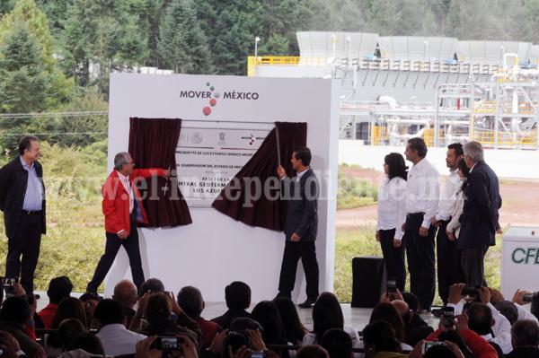 Inauguró Peña Nieto fase 1 de geotermoeléctrica en Michoacán