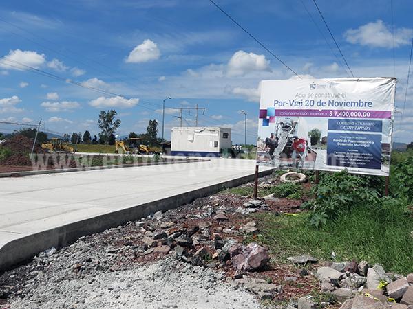 70 por ciento de avance presenta tramo del Par Vial 20 de Noviembre
