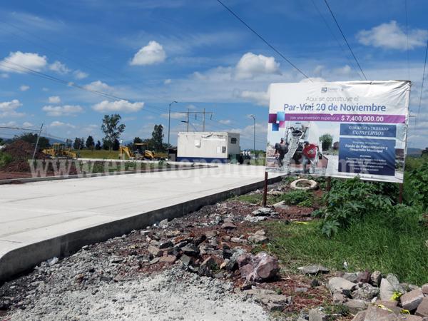 Avanza consolidación del Par Vial 20 de Noviembre