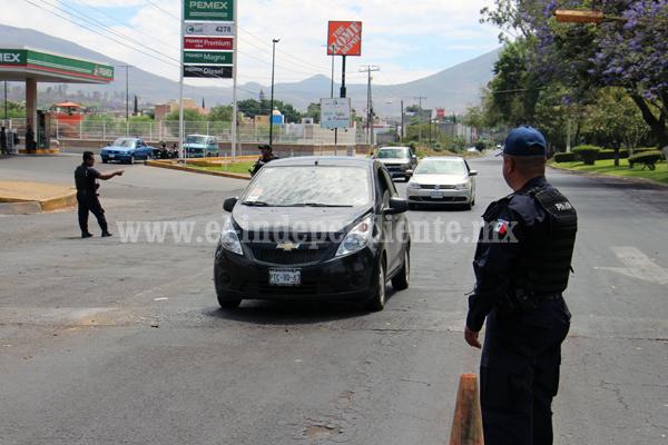 Refuerzan  seguridad en accesos y cruces de la zona urbana