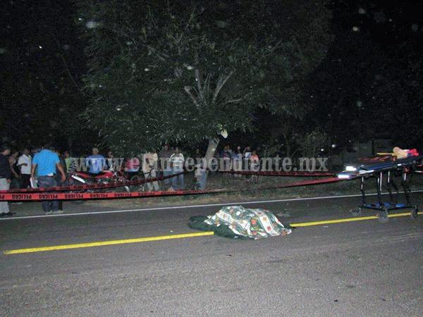 Motociclista muere atropellado en la carretera Jacona-Jiquilpan