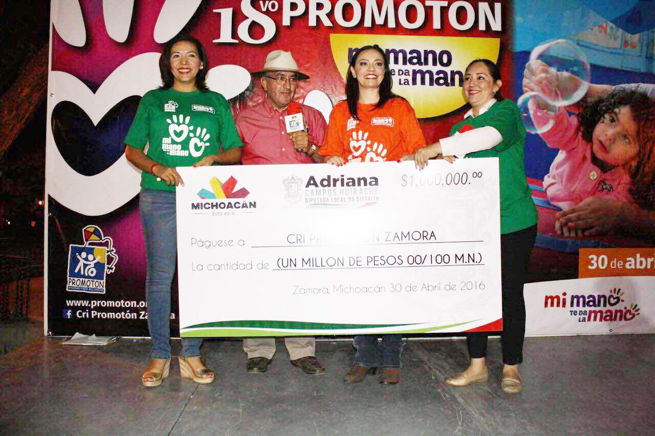 Diputada Adriana Campos encabeza entrega de un millón de pesos al CRI -Promotón