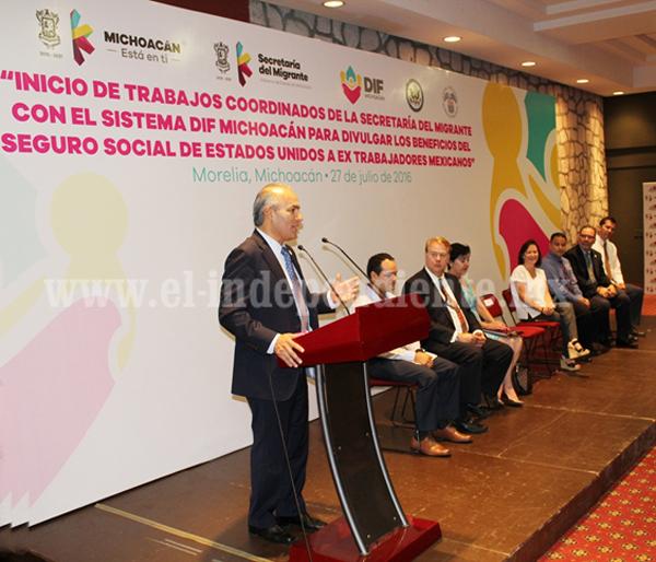 Semigrante y DIF Michoacán unen esfuerzos para difundir beneficios del seguro social de EU