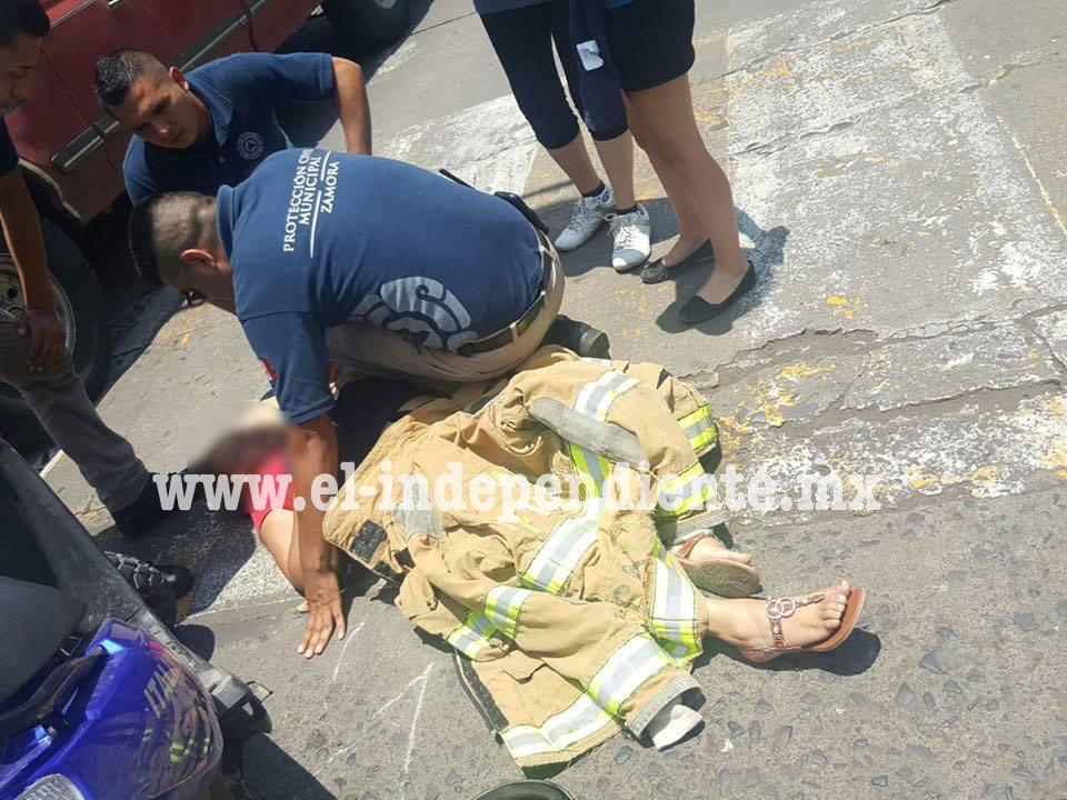 Ama de casa es embestida por camión de pasajeros en la 5 de Mayo de Zamora
