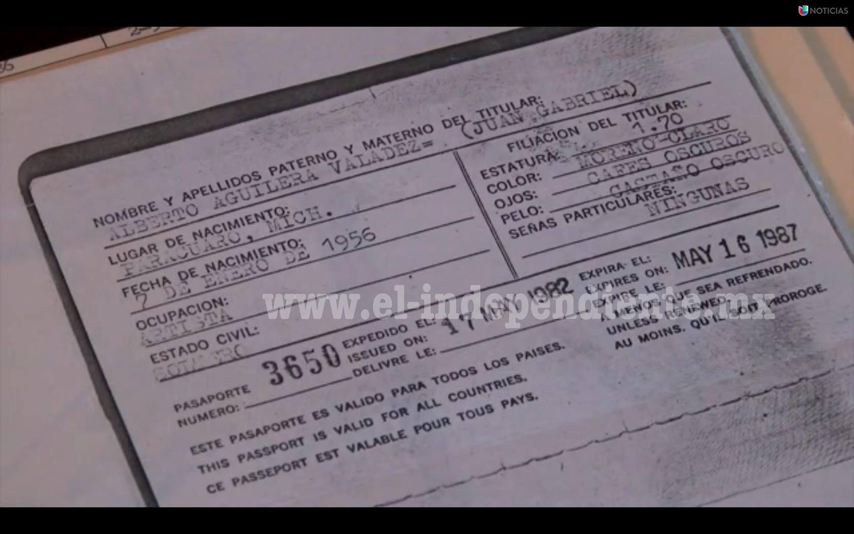 Encuentran visa de trabajo de Juan Gabriel donde dice que nació en 1956