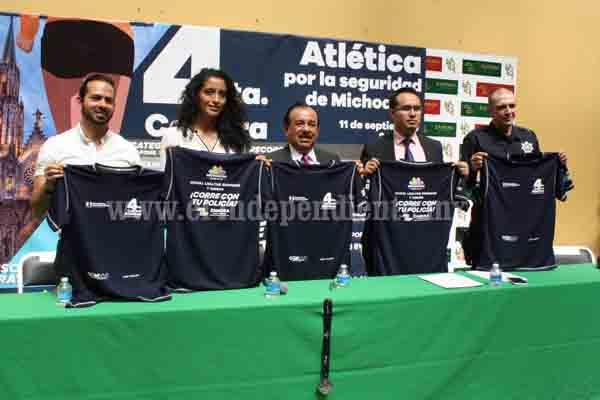 """Convocan a participar la 4ª Carrera Atlética por la Seguridad de Michoacán """"Corre con tu Policía"""""""