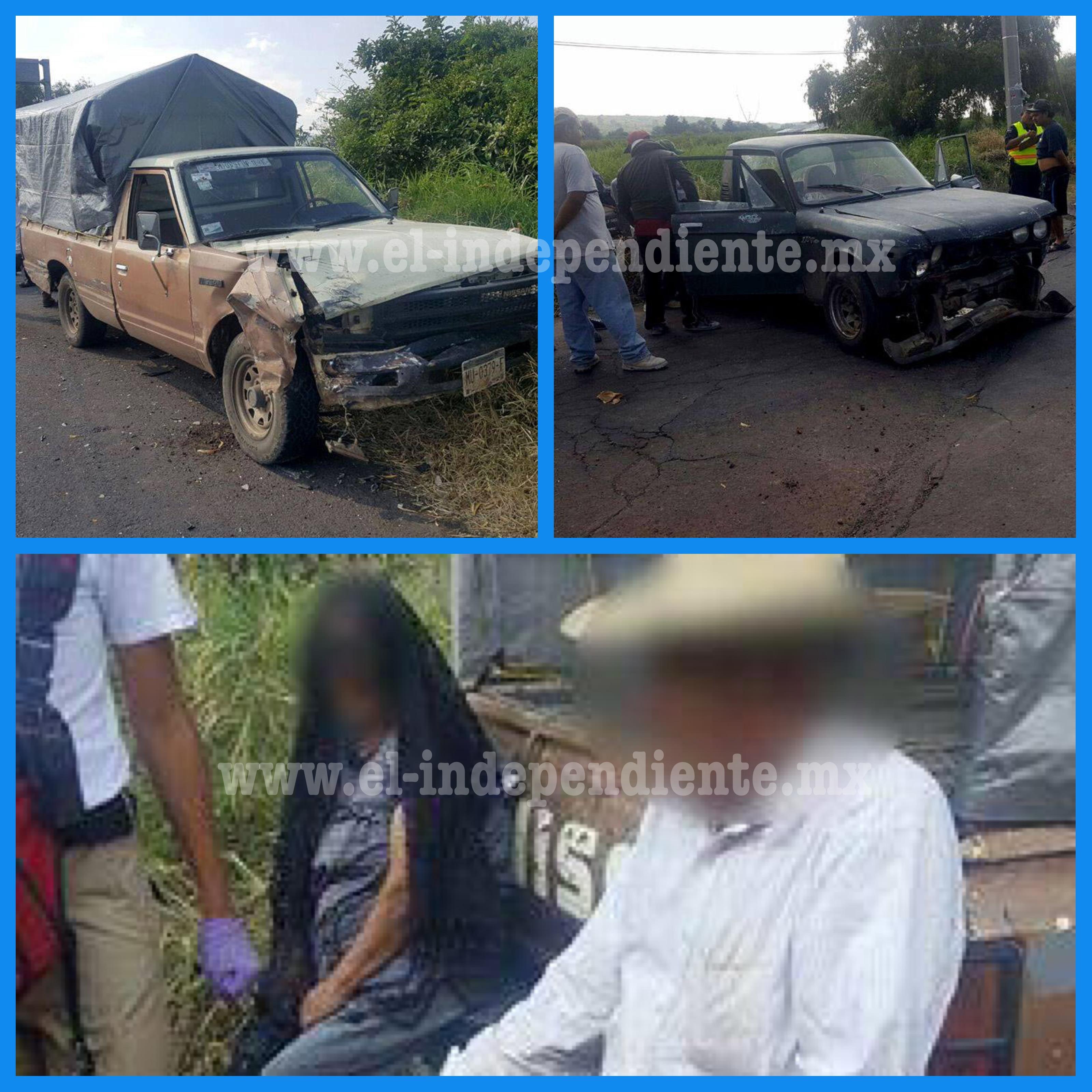 Una pareja de adultos mayores resulta herida en choque vehicular