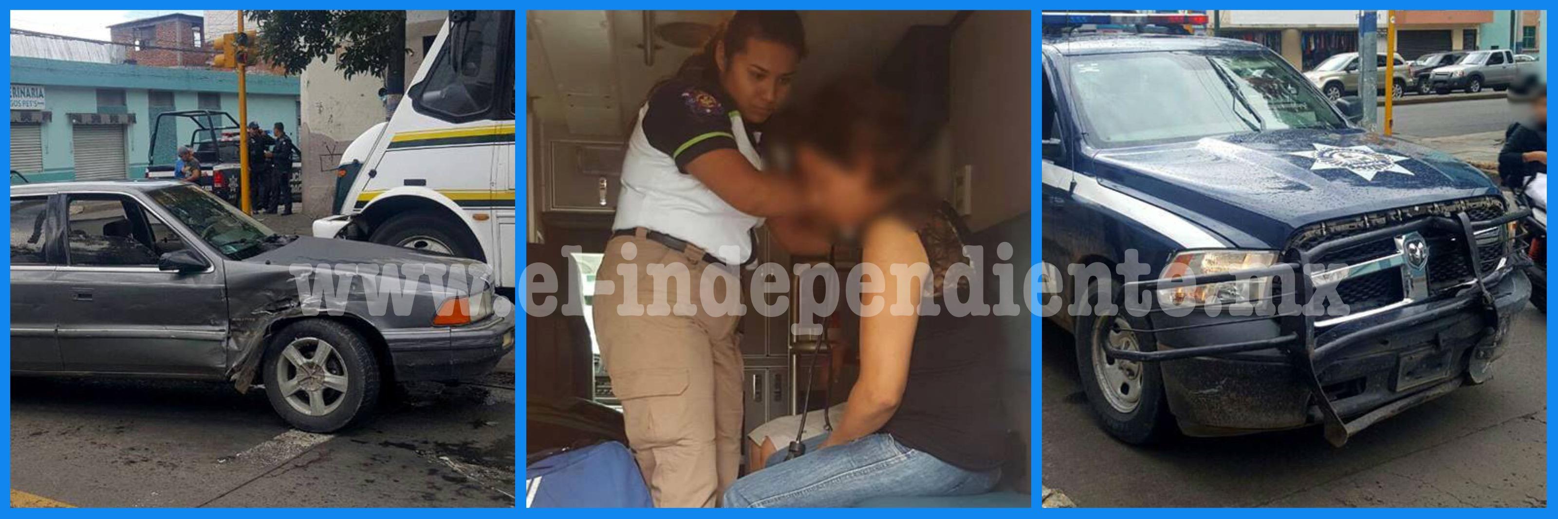 Chocan patrulla y auto particular en la zona Centro de Zamora