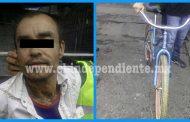 Lo detienen con bicicleta robada en el Mercado Hidalgo