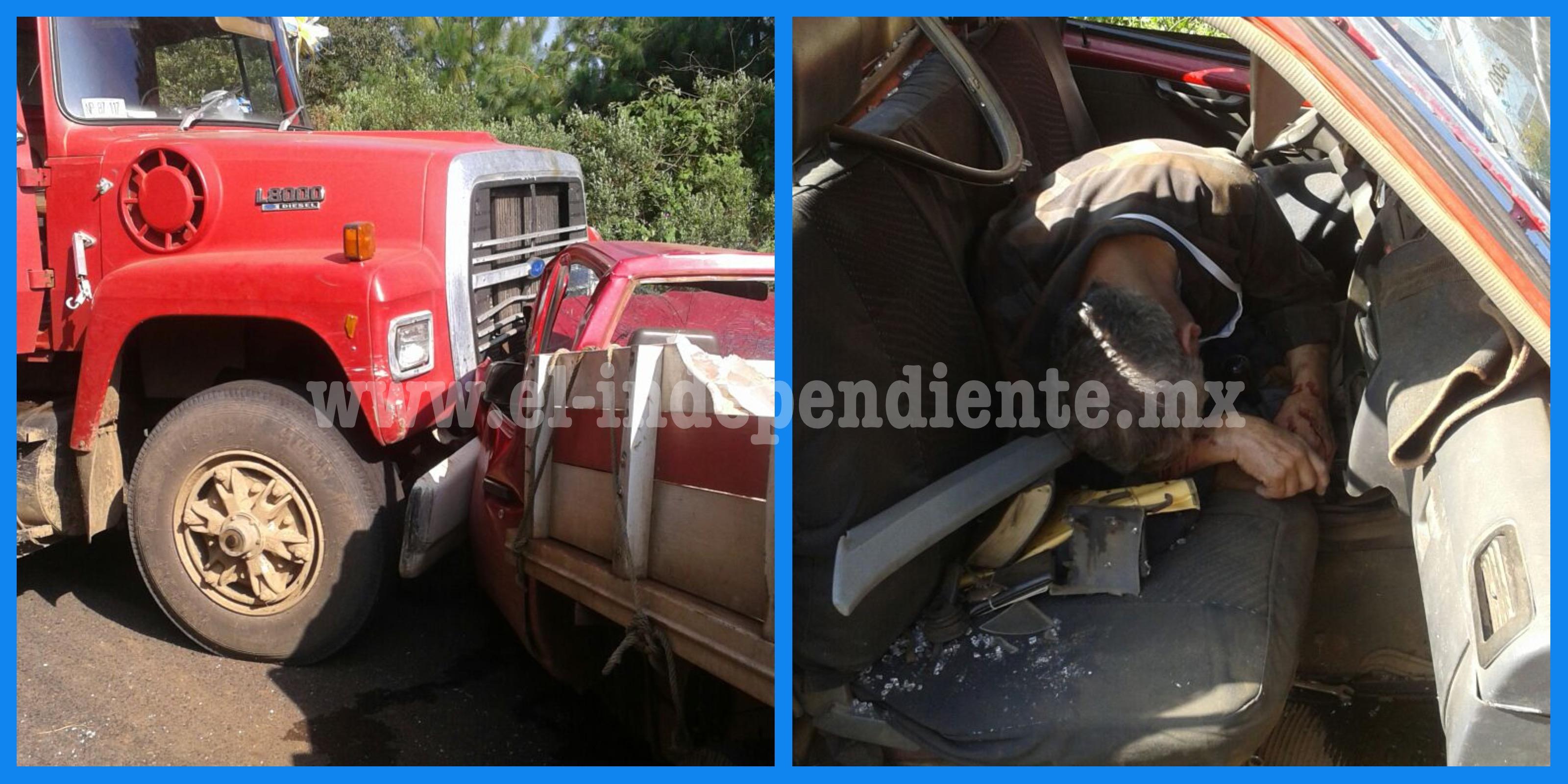Sexagenario muere al chocar su camioneta contra un camión de carga en Tingüindín