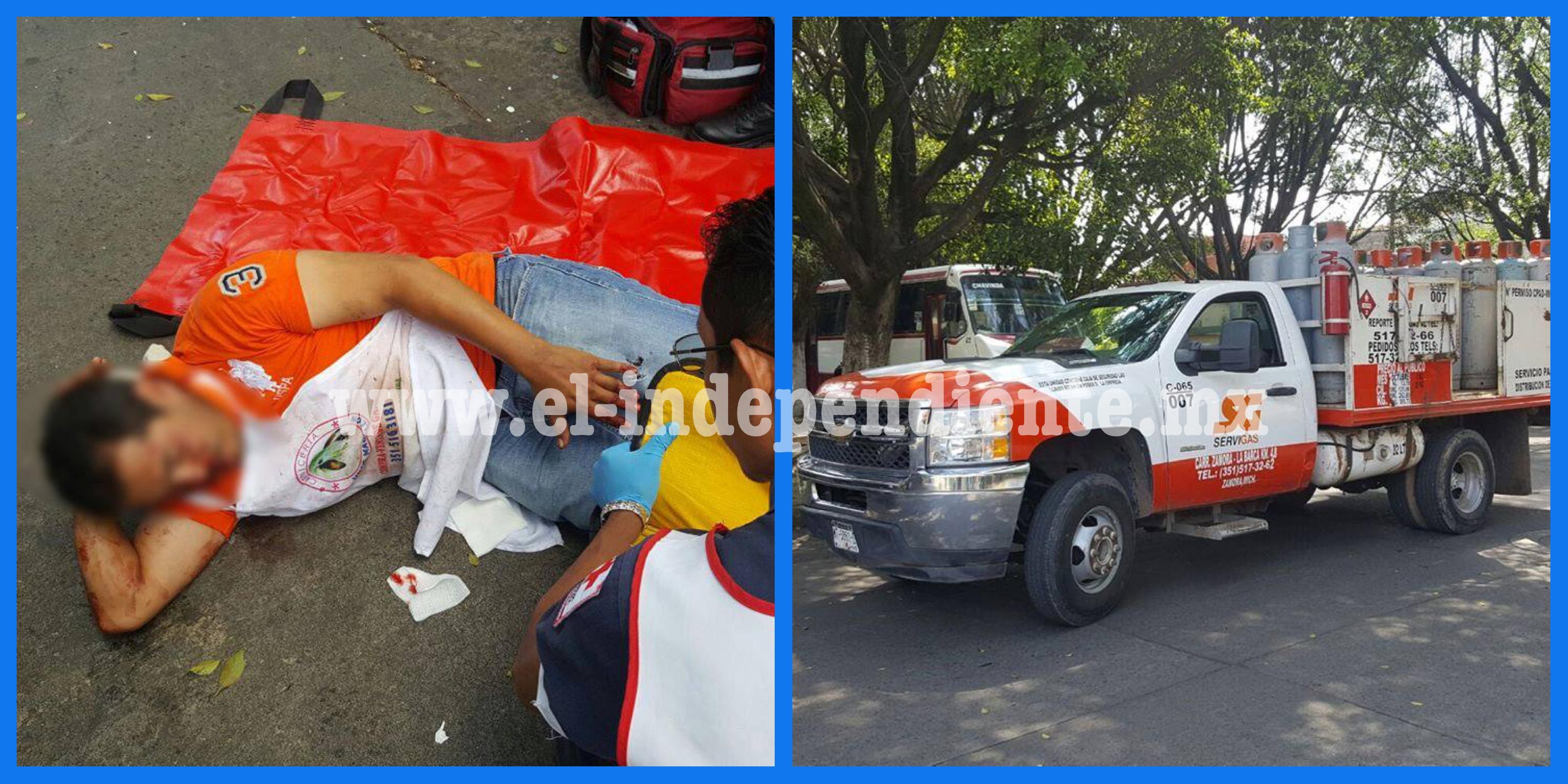 Repartidor de carne resulta lesionado tras chocar con camioneta de SERVI GAS