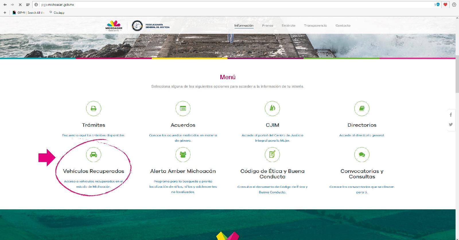 Difunde PGJE en su portal web registro de vehículos recuperados en Michoacán