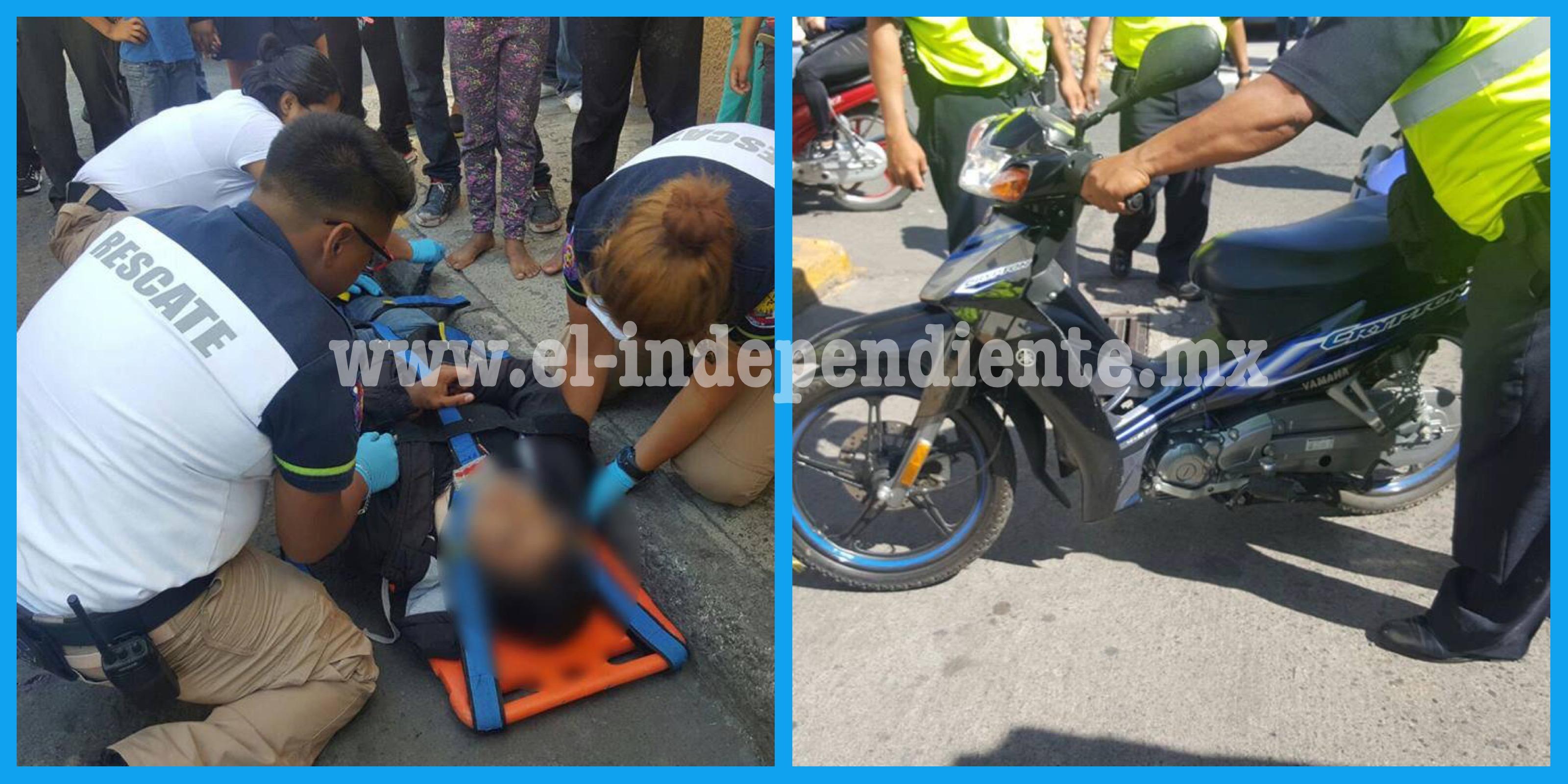 Adolescente derrapa en su moto y resulta lesionado