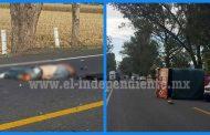 Fatal accidente en el Libramiento de Zamora; un motociclista muerto y dos personas heridas