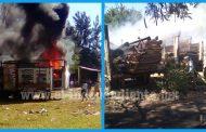 Arden camiones con juegos mecánicos en Ario de Rayón