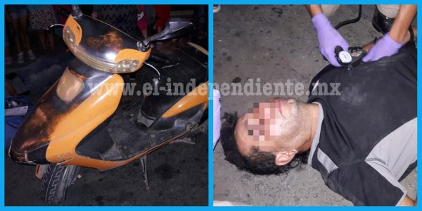 Quincuagenario motorizado impacta contra una camioneta estacionada en la 20 de Noviembre