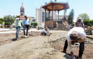 En julio quedarán terminados los trabajos de rehabilitación de la plaza principal