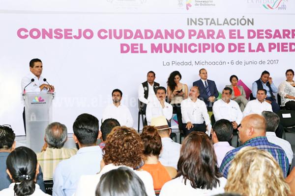 Oficializa Gobernador instalación de Consejo Ciudadano para el Desarrollo Integral de La Piedad
