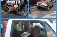 Camioneta impacta contra un taxi; una pareja resulta herida