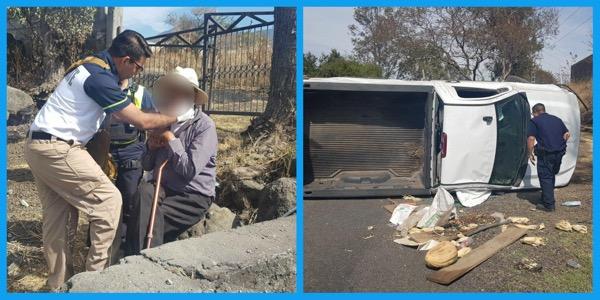Octagenario lesionado al volcar su camioneta, en el Libramiento Zamora - Jacona