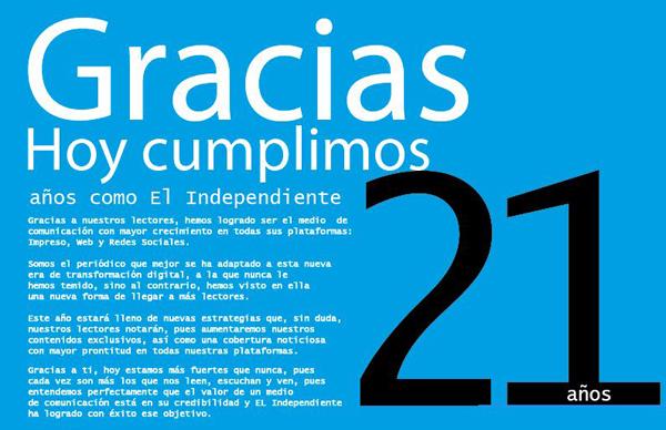 Hoy cumplimos 21 años como El Independiente