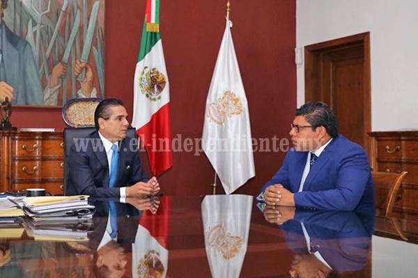 Dialoga Gobernador con magistrado anticorrupción del TJAM