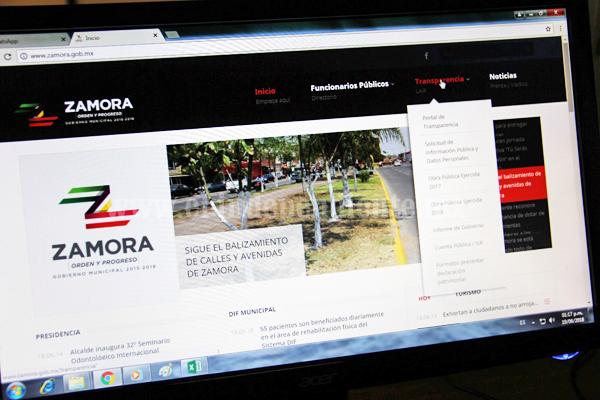 Zamora cumple con nuevos lineamientos en materia de transparencia