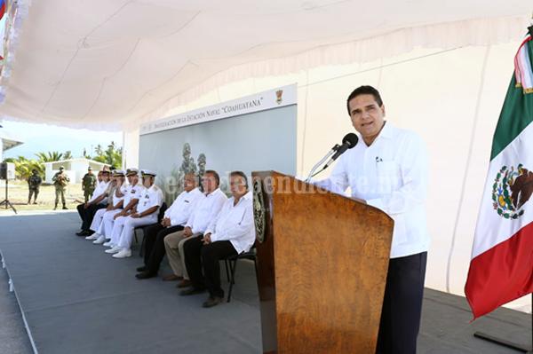Inaugura Gobernador Estación Naval de Coahuayana; reforzará actuación de la Marina