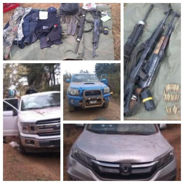 Enfrentamiento deriva en aseguramiento de un gatillero, armas y vehículos en Tangancícuaro