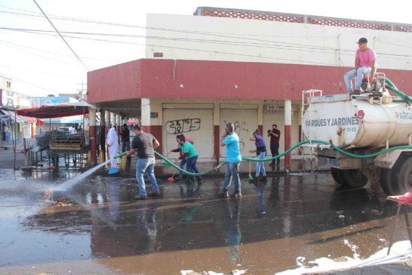 Sanitizan, limpian, lavan y fumigan el Mercado Hidalgo
