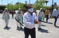 Ángel Macías instala túnel sanitizante e inicia higiene de espacios públicos en Ixtlán