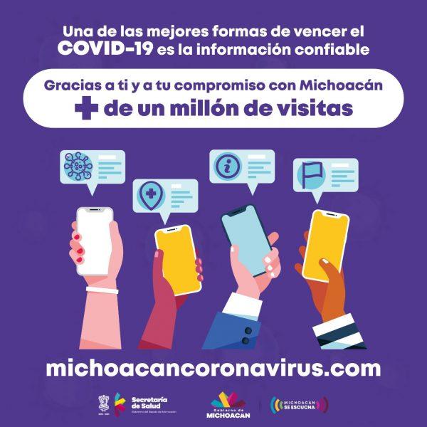 Suma más de un millón 200 mil visitantes el micrositio sobre COVID-19