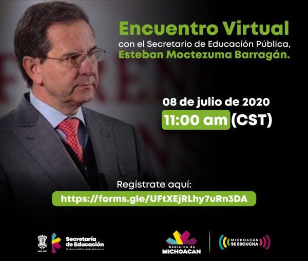 Invita SEE a docentes michoacanos a participar en reunión virtual con titular de la SEP