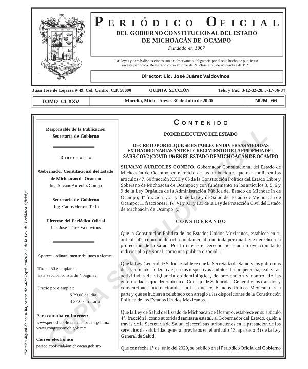 Emite Gobernador decreto para uso obligatorio de cubrebocas