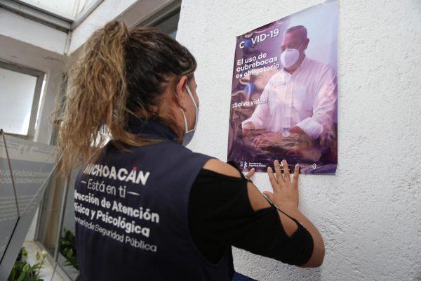Intensifica SSP acciones para el uso de cubrebocas en Cuarteles de la Policía Michoacán