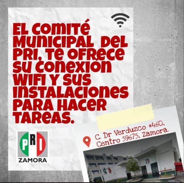 PRI Zamora pone red de wifi a disposición de niños y jóvenes