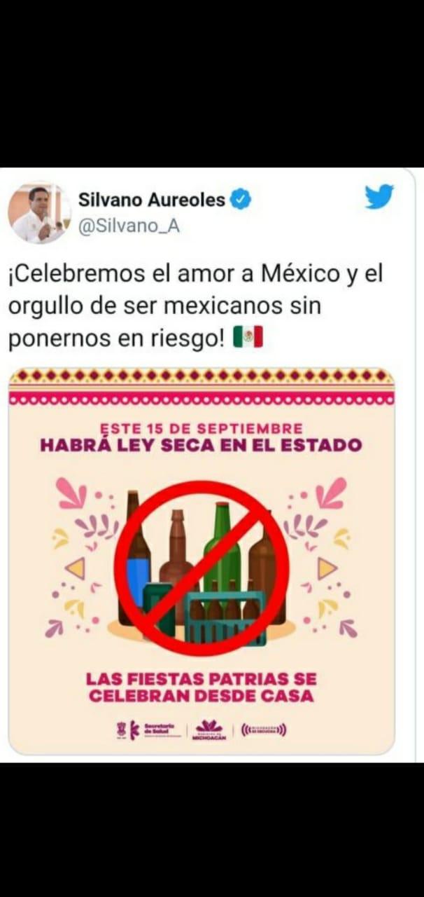 15 de Septiembre, Ley Seca en Zamora, por disposición oficial del Gobierno del Estado