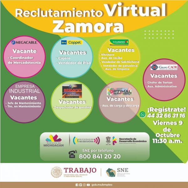 Reclutamientos y talleres para buscadores de empleo ofrecerán Sedeco y SNE en Morelia y Zamora