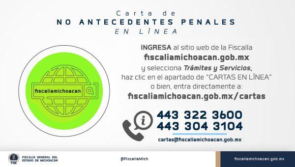 Ya se puede tramitar en línea la Carta de Antecedentes No Penales: FGE