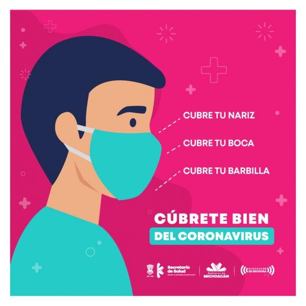En Michoacán, continúa uso obligatorio del cubrebocas para disminuir riesgo de COVID-19