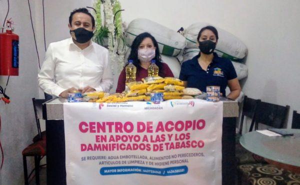 Instalan centros de acopio en beneficio de damnificados de Tabasco