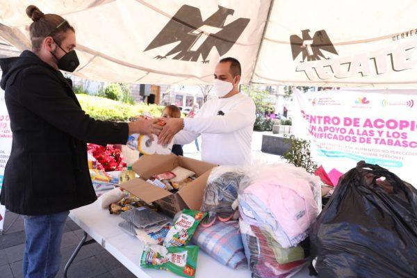 Más de dos toneladas de víveres y artículos no perecederos ha recaudado colecta en apoyo a Tabasco