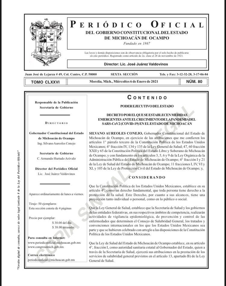 Emite Gobernador decreto sobre medidas emergentes ante crecimiento de COVID-19 en Michoacán