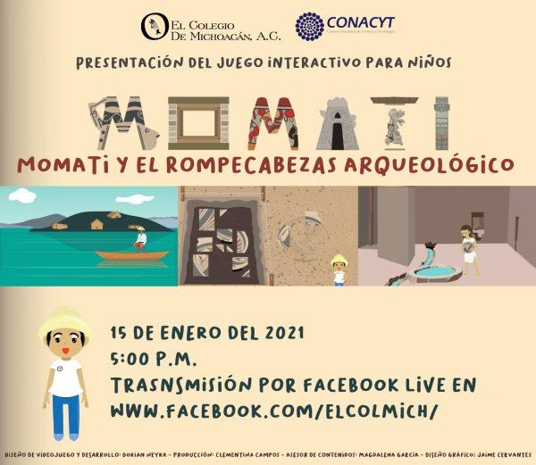 """Presentará ColMich juego digital interactivo para niños """"Momati y el rompecabezas arqueológico"""""""