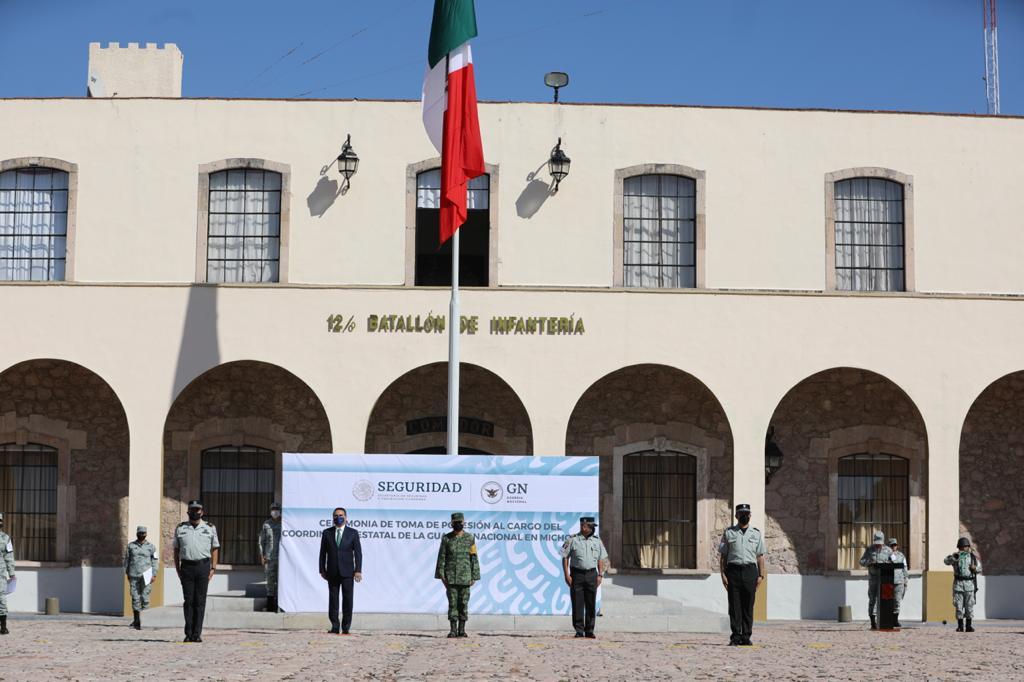 Preside Gobernador toma de posesión del Coordinador Interino de la Guardia Nacional en Michoacán