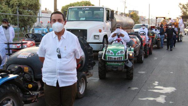 Productores agrícolas arrancan sanitización para contrarrestar COVID en Zamora