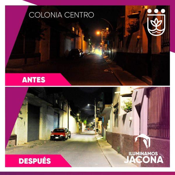 Jacona mejora alumbrado público en la zona centro